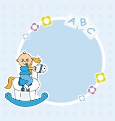 Boy riding a wooden horse vector image vector image
