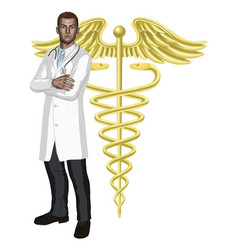 doctor and caduceus symbol vector image vector image