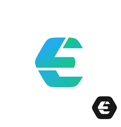 Letter E color tech industry style logo concept vector image vector image