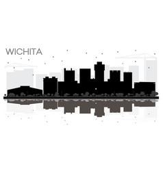 Wichita kansas usa city skyline black and white vector