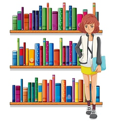 A lady holding a book standing in front of the vector image vector image