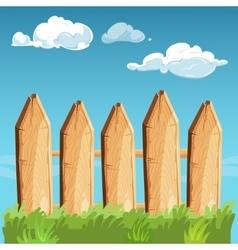 Cartoon rural wooden fence blue sky vector image