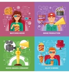 Cinema 2x2 Design Concept Set vector image vector image
