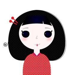 Cute beautiful little japanese cartoon Girl vector image vector image