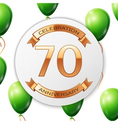 Golden number seventy years anniversary vector