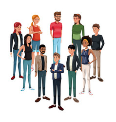 goup of young people standing vector image