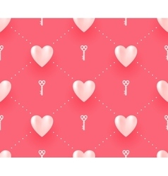 Seamless pattern with white hearts and keys on a vector image vector image