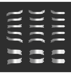 Set of silver ribbons on black vector image vector image