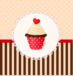 Vintage invitation card with heart on cream cake vector