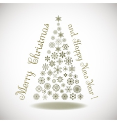 Happy New Year composition tree of snowflakes with vector image vector image