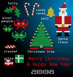 pixel family Christmas vector image vector image