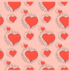 red heart pattern vector image vector image