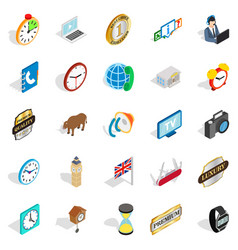 Time period icons set isometric style vector