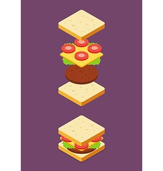Isometric of Sandwich ingredients vector image vector image