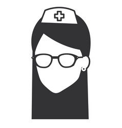 nurse with glasses avatar character vector image