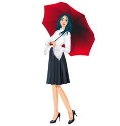 picture of a girl with blue hair standing under a vector image