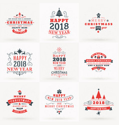 set of merry christmas and happy new 2018 year vector image