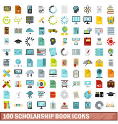 100 scholarship book icons set flat style vector