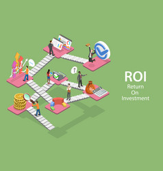 3d isometric flat concept return on vector image
