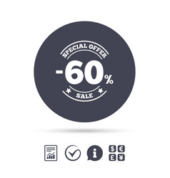 60 percent discount sign icon sale symbol vector image