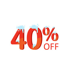 a discount of forty percent winter sale figures vector image