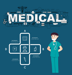A doctor with medical icons infographic design vector