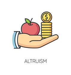 Altruism rgb color icon selfless giving and vector