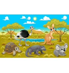 Australian animals in a natural landscape vector