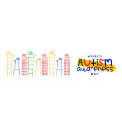 Autism awareness day kid hand cartoon banner vector