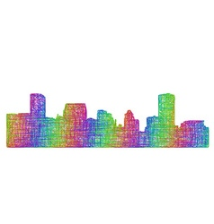 Baltimore skyline silhouette - multicolor line art vector image