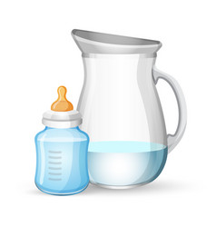 Bamilk bottle and jug with liquid on white vector