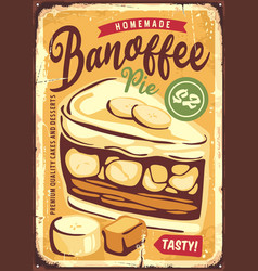 Banoffee pie delicious banana and toffee cake vector