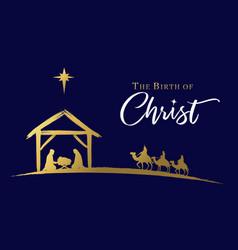 Birth christ in manger golden nativity vector