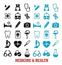 Black and blue flat medical icons set vector image