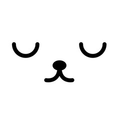 black and white pet kawaii emoticon face vector image