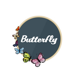 butterfly gray circle frame white background vector image