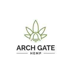 Cannabis leaf with arch gate line art logo design vector