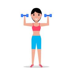 cartoon girl holding dumbbells for fitness vector image