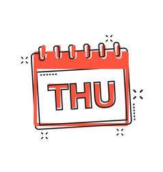 Cartoon thursday calendar page icon in comic vector