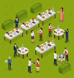catering isometric composition vector image