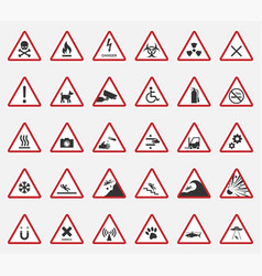 caution icons warning signs vector image