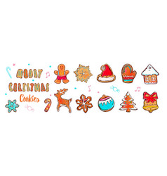 colorful merry christmas postcard with ginderbread vector image