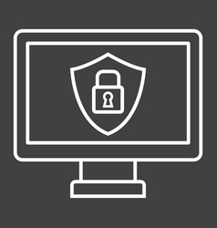 Computer security line icon protection padlock vector