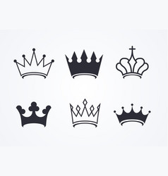 crown icon set collection different crowns vector image