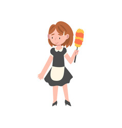 Cute girl dressed as maid kids future profession vector