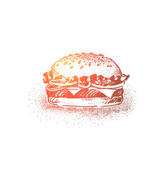 delicious burger classic street food vector image