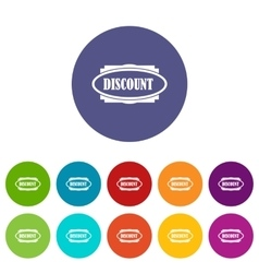 Discount oval label set icons vector image