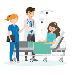 Doctor and patient in hospital room vector