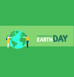 earth day web banner of people hugging planet vector image