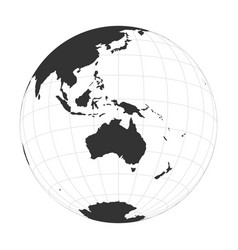 Earth globe focused on australia and vector